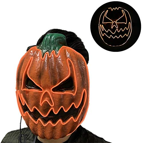 Kostüm Kürbis Mann Kopf - Halloween Kürbis Maske Led Leuchten ,Latex Horror Masken,Schreckliche Kürbis Kopf Maske für Halloween Party für Erwachsene Männer Frauen Kinder Halloween Kostüm RequisitenA