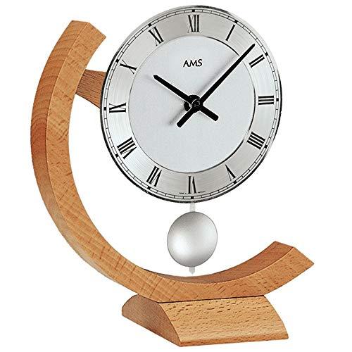 AMS Tischuhr Holztischuhr Quarzuhr mit Pendel Buche Tisch Uhr Holz
