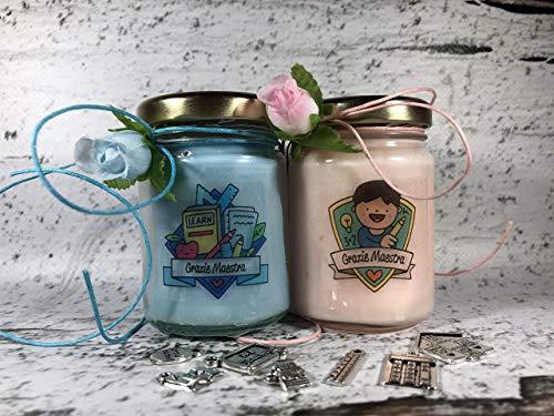 Grazie Maestra ** 2 vasetti con candele di cera di soia e oli essenziali - Regalo per la Maestra Fine anno scolastico Ritorno a scuola Regalo di Nat