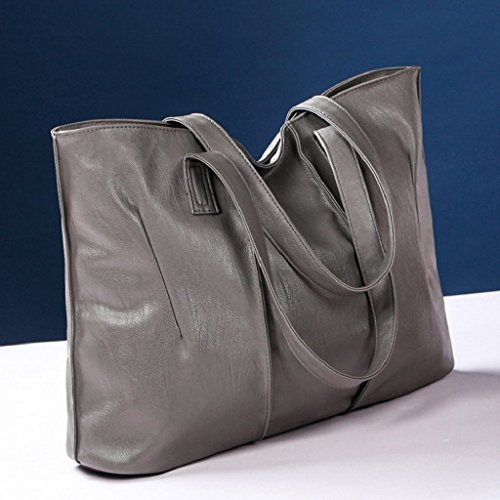 Kangrunmy Fashion Handbag Lady Shoulder Bag Purse Leather Messenger Grigio