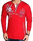 Herren Langarm Shirt Longsleeve T-Shirt Vintage (Rot (L.4.10 0645), XXL)