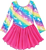 Sylfairy Gymnastics Wrap Skirted Leotards for Girls Kids Sparkle Rainbow Unicorn Gymnastic Skirt, Dance Ballet Dress