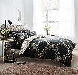Amor Mode Floral Damast Wende Luxus Bettwäscheset, Bettbezug mit Kissenbezügen Hotel Qualität Betten Set, Polycotton, anthrazit, King: 230cm x 220cm