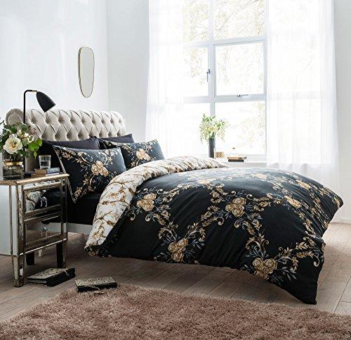 Amor Mode Floral Damast Wende Luxus Bettwäscheset, Bettbezug mit Kissenbezügen Hotel Qualität Betten Set