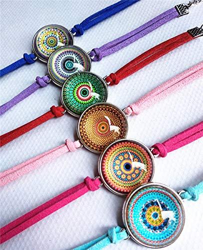 12 unids/lote Mandala flor pulseras étnicas Paisley pañuelo estilo retro cristal cabujón pulsera de cuero paty regalo