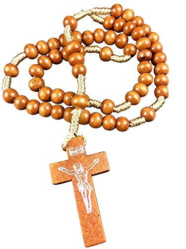 Motivationsgeschenke Rosenkranz geknüpft 30 cm Perle Rund Hell 3 mm, Holzkreuz Gebetskette Kruzifix