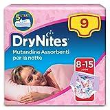 Drynites Mutandine Assorbenti per la Notte per Bambina, 27 - 57 kg, Confezione da 9 Pezzi