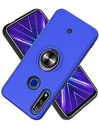 Funda para Huawei Honor 9X / 9X Pro Soft TPU + Duro PC Doble Parachoques,Giroscopio Rotatorio,Botón de Descompresión, con Soporte de Anillo Funda Protectora Serie -Azul Marino