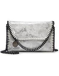 Valleycomfy bolso de mujer elegante bolso de hombro correa de cadena metálica bolso de cuero de