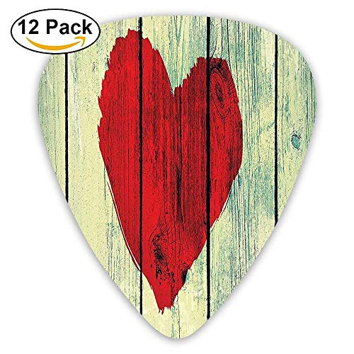 Love Heart Symbol Painted On Rustic Wooden Wall Romance Affection Pleasure Themed Guitar Picks 12/Pack Set