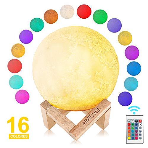 AIMIUVEI Lámpara Luna 3D 16 Colores RGB Luz Nocturna