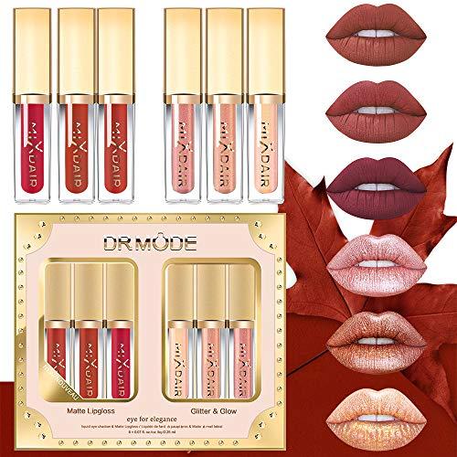 Matte Lippenstift Set - DR.MODE Liquid Glitter Lipstick Sets, Wasserdichte Langlebige Matte Flüssigkeit Lipgloss, Hochpigmentierte Samt, Super Stay Velvet Smooth Formula - 6PC
