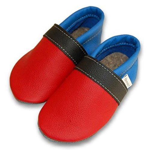 Herrenlederschuhe, pantoufles, chaussures - erdbeer-schwarz-kornblume