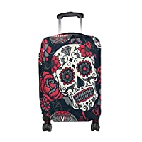 MyDaily Skull with Floral Luggage Cover Fits 18-32 inch Suitcase Spandex Travel Protector