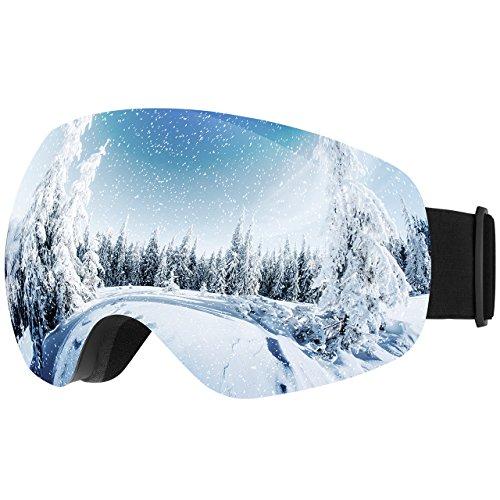 Homitt Skibrille für brillenträger, Schutzbrille, UV-Schutz Schneebrille, 100% UV400 Beschichtung, Anti-Fog Sonnenbrille, Sportbrille Snowboardbrille mit Einstellbare Größe und abnehmbarer Gurt