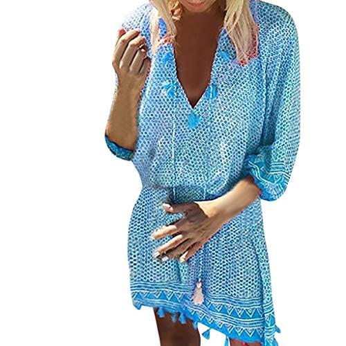 ode Beiläufiges Elegant Sommer V-Ausschnitt Langarm Böhmischen Lässigen Strandkleid Strandkleider Festlich Hochzeit Partykleid Abendkleider(XXL,Blau) ()