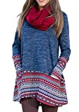 Frauen Langarm Druckkleider Faltenrock Freizeitkleid Jerseykleider Strickkleider Blusenkleider Minikleider A-Linie Kleid (Europa 40=Asiatische XL)