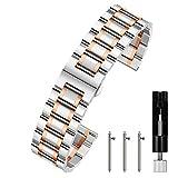 Berfine 22mm Uhrenarmbänder Schnellverschluss Edelstahl Uhrarmband mit Faltschließe Metall Uhr Armband Uhren Band Silber-Roségold