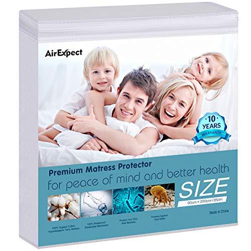 AirExpect Wasserdichter Matratzenschoner 90 x 200 cm 100{73ca290f653e279182ad8f3bc1249a4b375c66a201f1e18cf8941b83ea8a5bb3} iger Biobaumwolle Hygienische und atmungsaktive Matratzenauflage,Optimaler Anti-Allergie,Anti-Milben Matratzenschutz,Vinyl frei