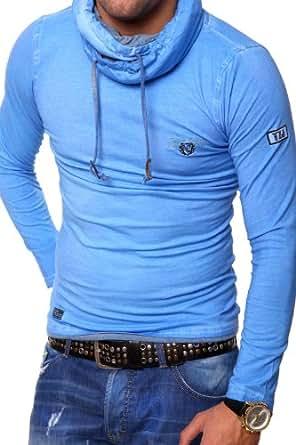 Tazzio Longsleeve High Neck Vintage T-Shirt 4100 [Blau, S]