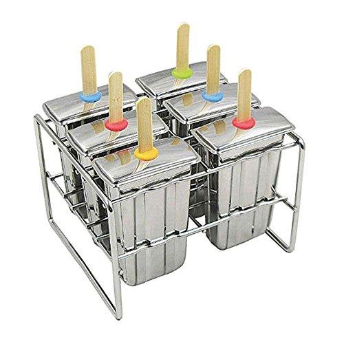 gaeruite Eis Lolly Formen, Eis Lutscher Forme, Edelstahl Eis am Stiel Schimmel für Home DIY (B, 6 Pcs C)