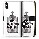 DeinDesign Apple iPhone XS Max Tasche Leder Flip Case Hülle Spruch Statement Das Bekommen Wir Gin