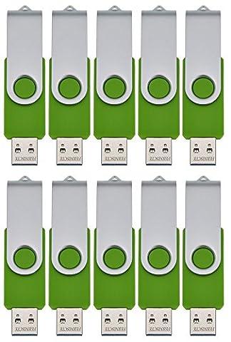 FEBNISCTE 10 Pièce Vert 4 Go Clé USB 2.0 Disque Mémoire Flash USB