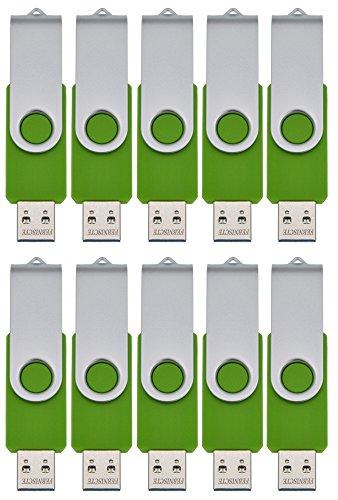 FEBNISCTE 10 Pièce 512MB(Not 512 Go) Mémoire USB Vert Rotatif Clé USB 2.0,Vert