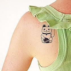 Gato de la Suerte - Tatuaje temporal (conjunto de 2)