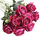 Simulation Flower Flanellrosen Künstliche Gefälschte Rosen Flanell Blume Brautstrauß Hochzeit Home Decor 5 Stück Für Hausgarten Party Blume Dekoration gut gemacht und vibrierend farbige künstliche Blume, romantisches Geschenk zum Valentinstag (B)