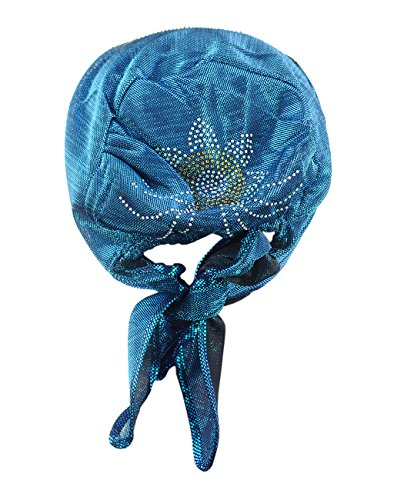 Foulard de tête extensible pour femme à accent floral. Produit offert par NYFASHION101. 084 Bleu