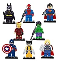 8 different Avengers & DC Superheroes mini figures
