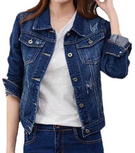 Gogofuture Jeans Cappotto Donna Giacca Outwear Camicia Soprabito Giacca Leggera Eleganti Puro Colore Simpatiche Comode Dark Blue