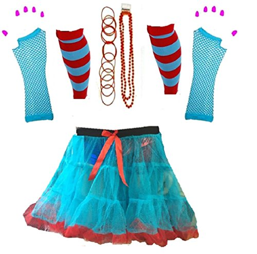 ids Boys Girls Thing Red Turquoise Theme 1 & 2 Book Week Costume- Pick & Mix (Tutu Set 5, Onesize - Age 5-10 Years) (Ding 1 Und Ding 2 Kostüme Mädchen)