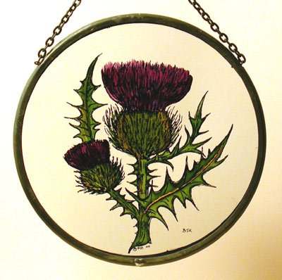 Decorative Hand Painted Stained Glass Window Sun Catcher/Roundel in a Scottish Thistle Design.