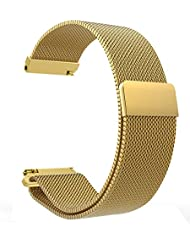VICARA 22mm Pebble Time 2-Uhrenarmband Gear S3 Armband mit Magnet Milanese Schleife Edelstahl-Uhrenarmband für Pebble Time 2 / Pebble Time / Pebble Time / SteelSamsung Gear S3 Frontier/S3 Classic/Moto 360 2nd(Gold)