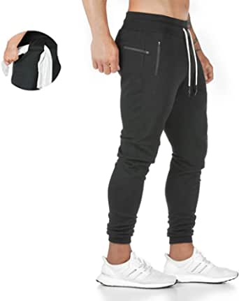 Tansozer Mens Tracksuit Bottoms Mens Joggers Bottoms Slim Fit Trousers with Zip Pockets