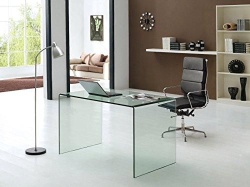Klar Glas-schreibtisch (Design Schreibtisch Nepal 120 aus Glas (klar) | 120 x 70 x 75cm | Glastisch aus einem Stück gebogen | hochwertig verarbeitet: 12mm Glasdicke, 59kg Gewicht)