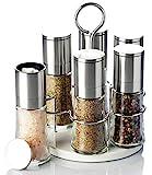 MÜHLEN- SET Edelstahl (6 Stück) mit Träger - Pfeffermühle Salzmühle Gewürzmühle unbefüllt mit Keramik Mahlwerk - Echtglas - Alle Gewürze im Griff - Gastro Set - drehbarer Ständer - Alle Gewürze sofort griffbereit