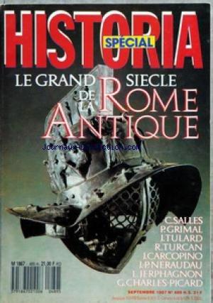 HISTORIA [No 489] du 01/09/1987 - LE GRAND SIECLE DE LA ROME ANTIQUE - SOMMAIRE - COUVERTURE CASQUE DE GLADIATEUR PROVENANT D'HERCULANUM MUSEE NATIONAL NAPLES - CONCOURS VERSION LATINE - ROMA AETERNA - LA PAX ROMANA PAR PIERRE GRIMAL DE L'INSTITUT - A PIED A CHEVAL ET EN VOITURE PAR CATHERINE SALLES - LE PHILOSOPHE ET LE DOUANIER - L'ANCETRE DE LA CARTE MICHELIN - URBS LA VILLE PAR EXCELLENCE PAR GILBERT CHARLES-PICARD - L'INSECURITE - LES NUISANCES DE LA GRANDE VILLE - LES THERMES - LES MAISON