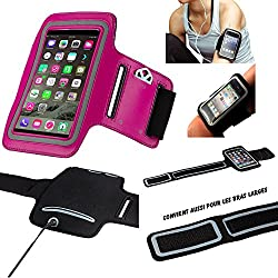 MP-France Sony L1 Brassard Sport Neoprene pour Telephone Portable (Smartphone) Course A Pied Randonnée Running Scratch Reglable - Activite Sportive - Rose