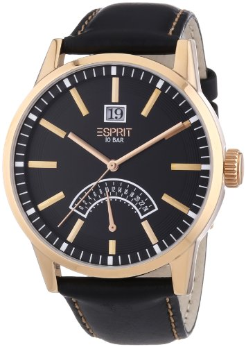 Esprit ES103651004 - Reloj analógico de cuarzo para hombre con correa de piel, color negro