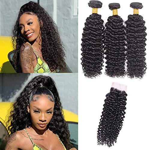 Bcapelli umani ricci brasiliani 100% capelli umani con chiusure brazilian human hair 3 bundles with closure (12 14 16+12 pollici)
