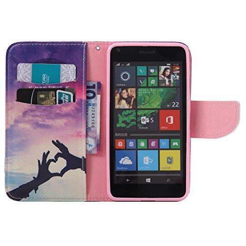 Feeltech Microsoft Lumia N640 Hülle [Berühren Sie Stift] Elegant PU Leder Tasche Magnetverschluss Ultra Schlanke hülle Gemalte Colour Muster Design Mit Back Cover Etui Skin Shell Purse hülle Standfunk Sich verlieben