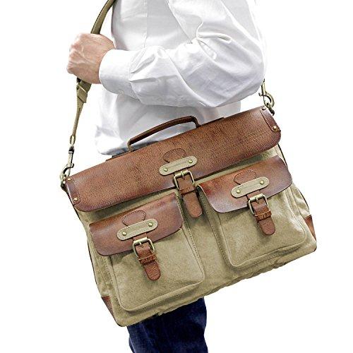 "DRAKENSBERG Kimberley Messenger Laptop Bag, 15"", Umhängetasche, Laptop Tasche, Canvas, Leder, Vintage, Safarilook, beige, khaki, braun Beige"