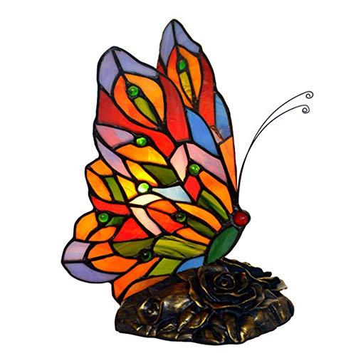 Tiffany Glas Schmetterling Tischlampe Messing Art Deco Kupfer Basis Tiffany Lampe 9-Zoll Schlafzimmer handgefertigte Nachttischlampe E12 Lampe mit 15W Birne und Knopfschalter gemalt -