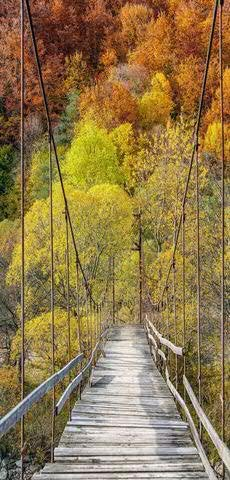 Textilbanner - Thema: Herbst - Holzbrücke im Herbstwald - 180cmx90cm - Banner zum Hängen & Dekorieren