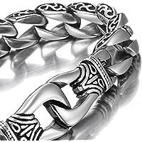 MENDINO Jewellery-Bracciale da uomo in acciaio INOX a catena con drago manette Bracciale Pouth regalo