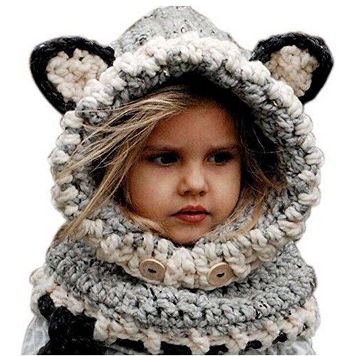 Pershoo Inverno a maglia di lana Berretti Fox Cappelli neonate scialli con cappuccio Cowl Beanie,Lana (Abbigliamento bambino)