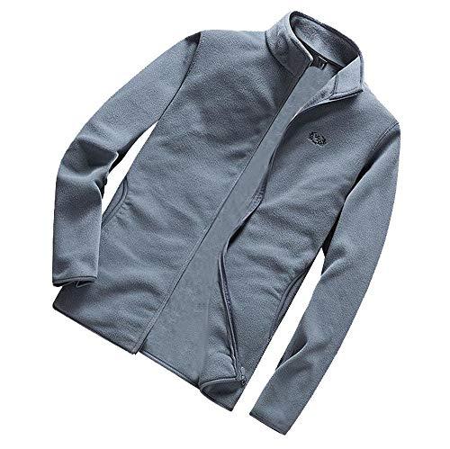 Xmiral Herren Jacke Mantel Winter Warm Reine Farbe Plus Size Schlank Zipper Outwear (4XL,Grau)